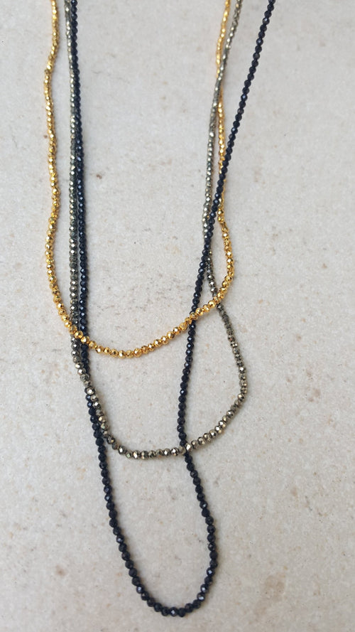 Sparkly Natural Bead Long Necklace
