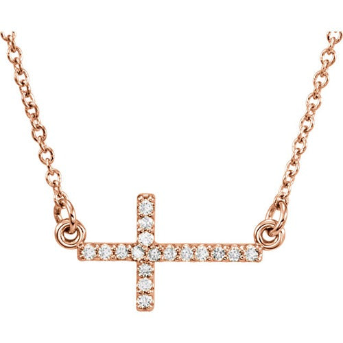 14k Gold and Diamond Sideway Cross Necklace