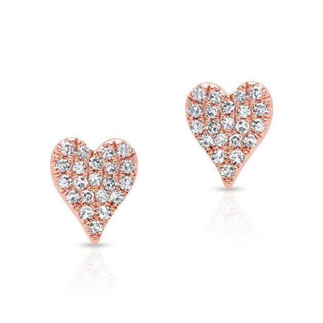 Full Pave Heart Stud Earrings
