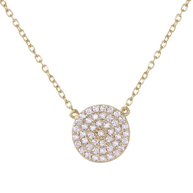 Disc Pave Medium Circle Necklace