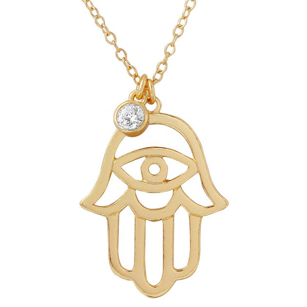 Hamsa with Stone Dangle Necklace