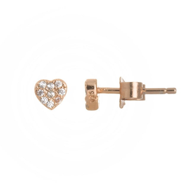Mini Pave Heart Stud Earrings
