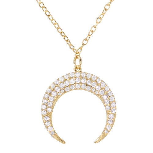 Full Pave Double Horn Necklace