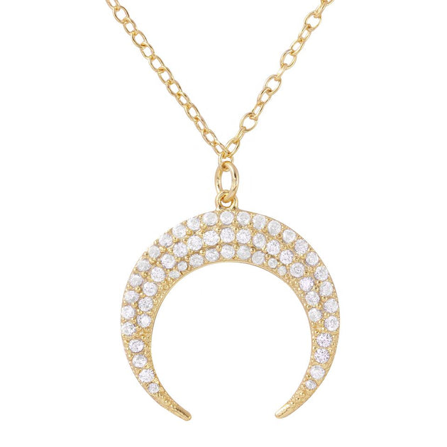 Pave Double Horn Necklace