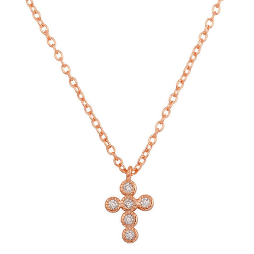 Mini Cross Necklace with Milgrain Scallop Edge