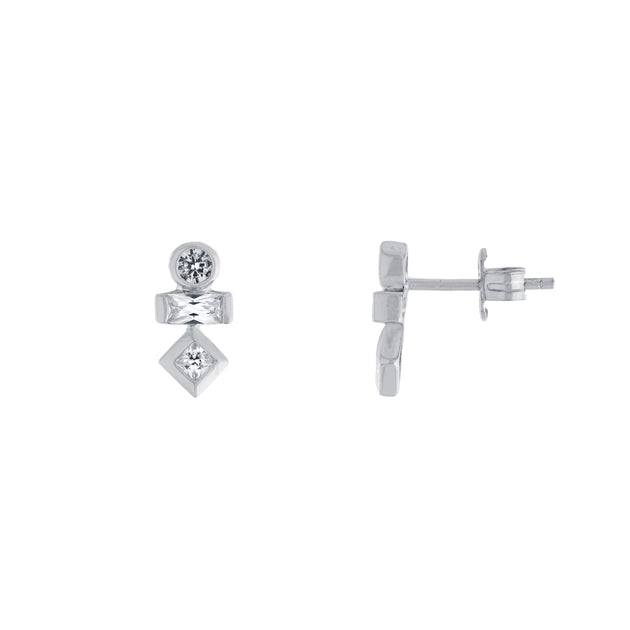 Geometric Stack Stud Earrings