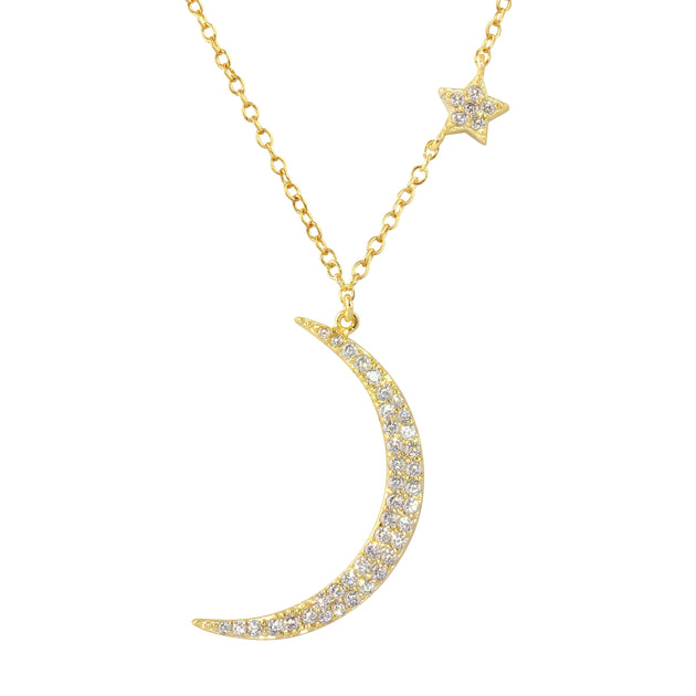 Crescent Moon and Baby Star Necklace