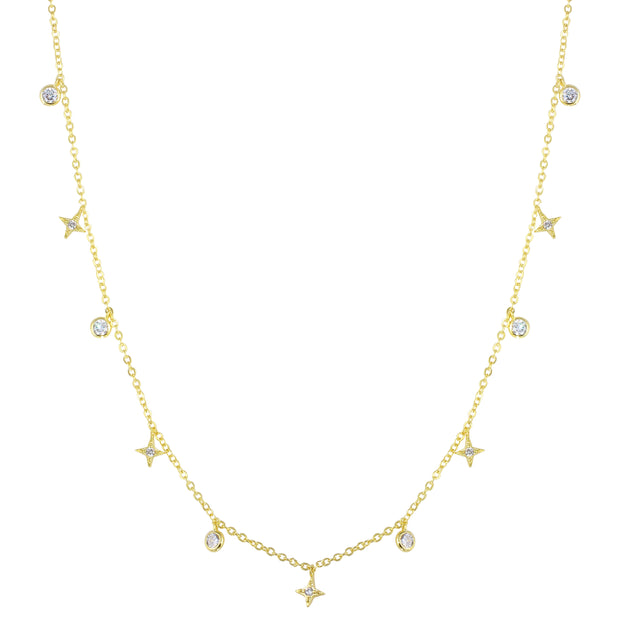 4 Point Star and Bezel Dripping Necklace