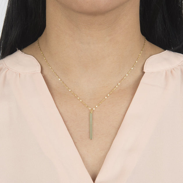 Bar Drop Necklace with Mirror Link Chain