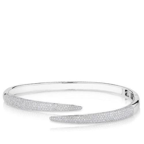 14k White Gold and Diamond Pave Horn Wrap Bangle