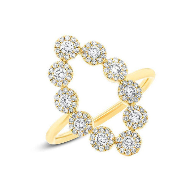 14k Gold Odessa Scalloped Open Marquis Diamond Pave Ring
