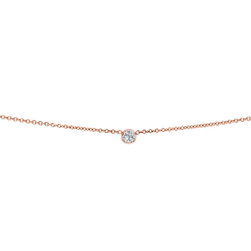 14k Gold Simple Bezel Set Diamond Solitaire Necklace