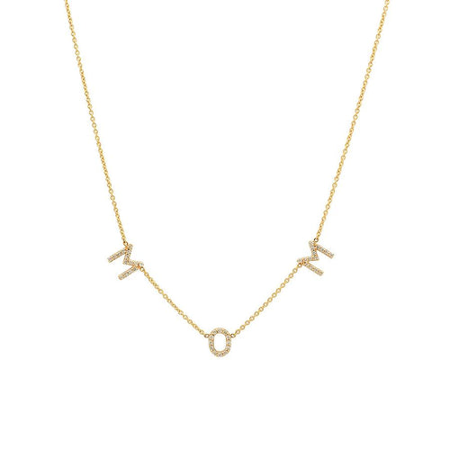 "14k Yellow Gold and Diamond ""MOM"" necklace"