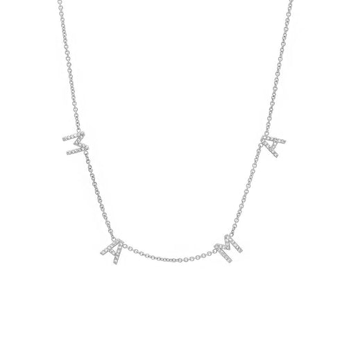 "14k White Gold and Diamond ""MAMA"" necklace"