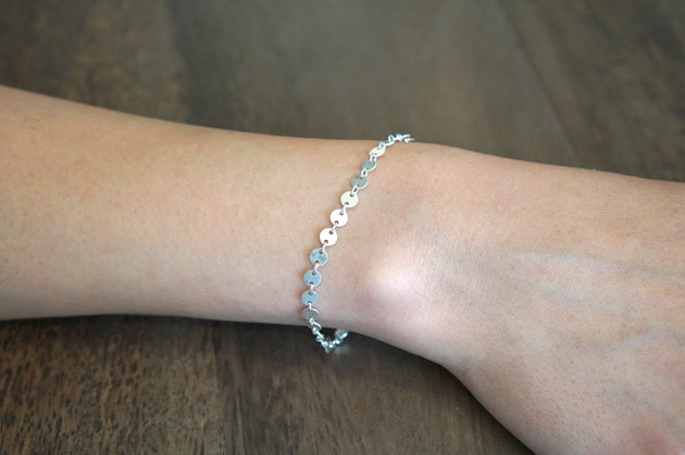 Shiny Simple Disc Coin Chain Bracelet