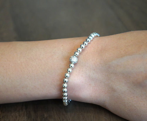 Silver Beaded Bubble Bracelet with Pave Ball Accent
