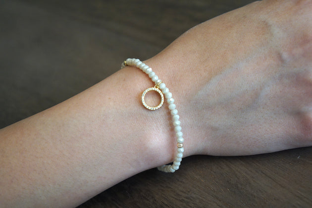 Bead Stretch Bracelet with Pavé Circle Charm