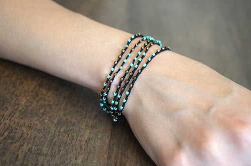 Soft Wrap Bracelet with Colorful Beads