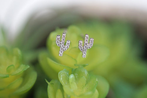 Petite Pavè Cactus Stud Earrings