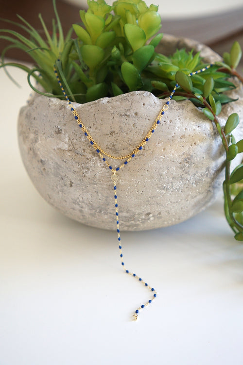 Blue Enamel Dots Lariat Y Necklace