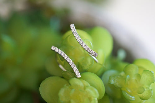Curved Pavé Bar Climber Earrings