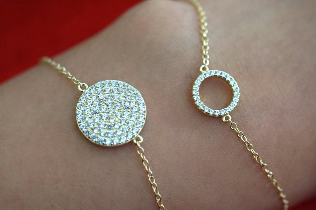 Full Pavé Disc Circle Bracelet