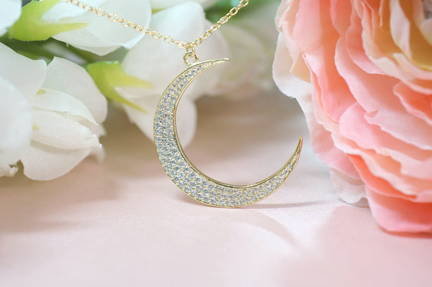 Large Full Pavé Crescent Moon Necklace