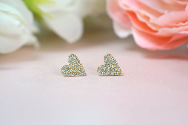 14k Gold and Diamond Full Pave Heart Stud Earrings