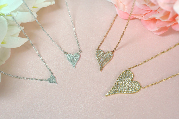 14k Gold and Diamond Pavè Small Melting Heart Necklace