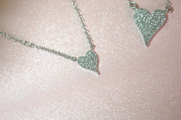 14k Gold and Diamond Pavè Extra Small Melting Heart Necklace