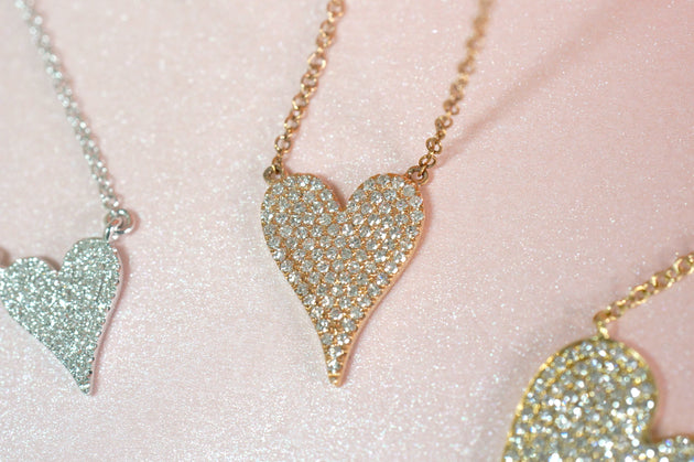 14k Gold and Diamond Pavè Medium Melting Heart Necklace