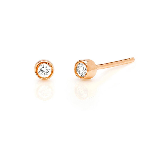 18k Gold and Diamond Bezel Stud Earrings