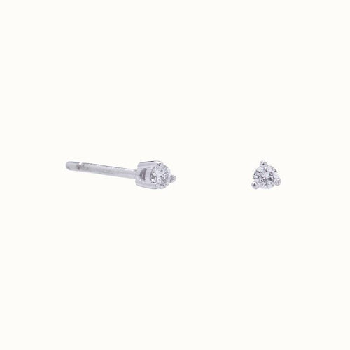 18k Gold Tiny Diamond 3 Prong Solitaire Stud Earrings