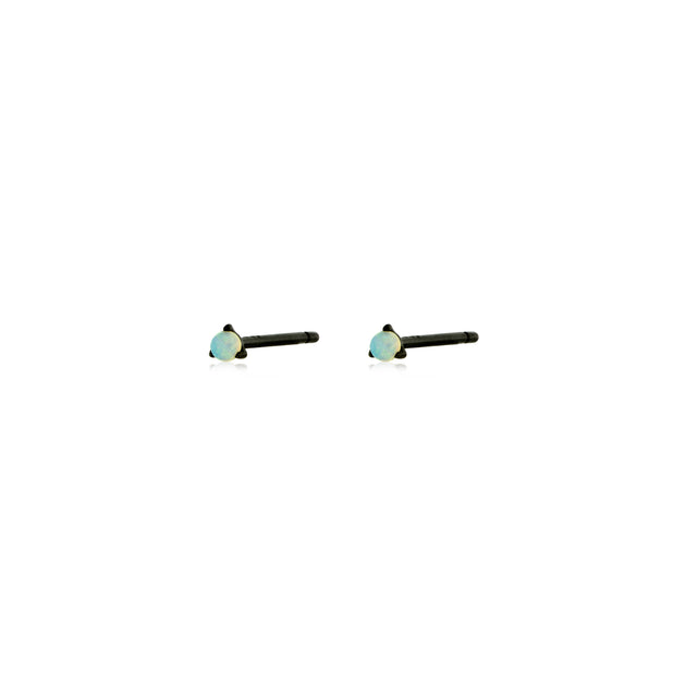 18k Gold and Black Rhodium Tiny Opal Solitaire Stud Earrings