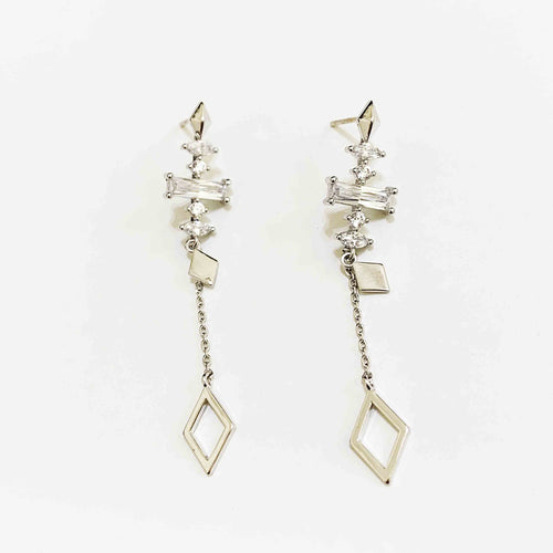 Geometric Stone and Shape Chain Drop Luxe Earrings