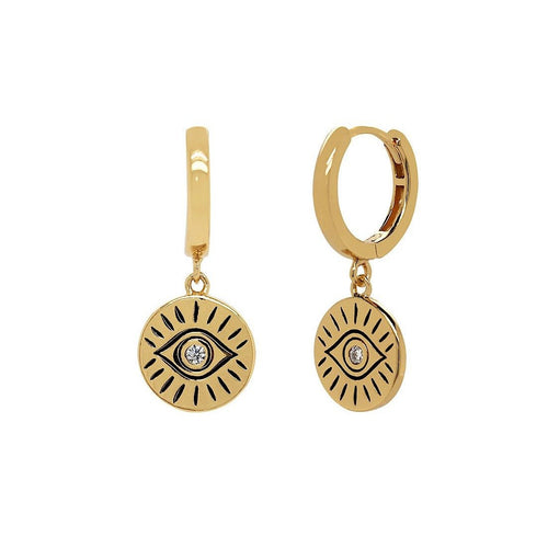 Evil Eye Amulet Huggie Earrings