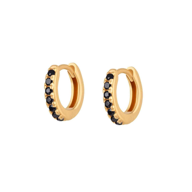 Black Stone Pavé Little Huggie Earrings