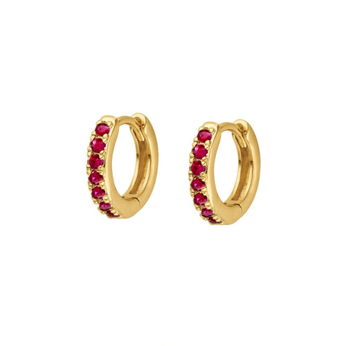 Ruby Stone Pave Little Huggie Earrings