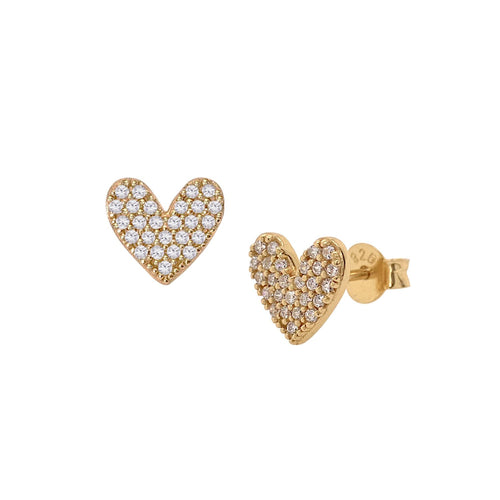 Large Luxe Heart Pave Stud Earrings