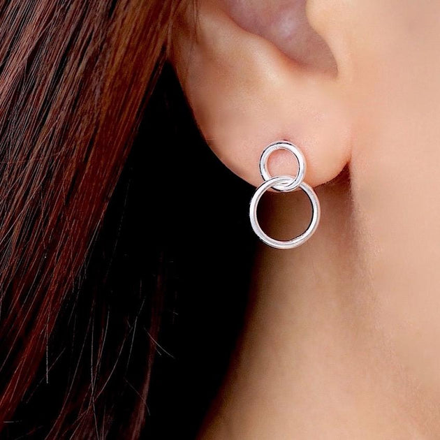Interlocked Circle Dangle Stud Earrings
