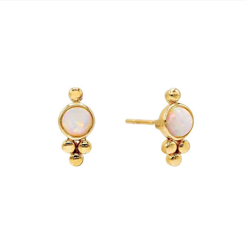 Opal and Triple Bead Stud Earrings