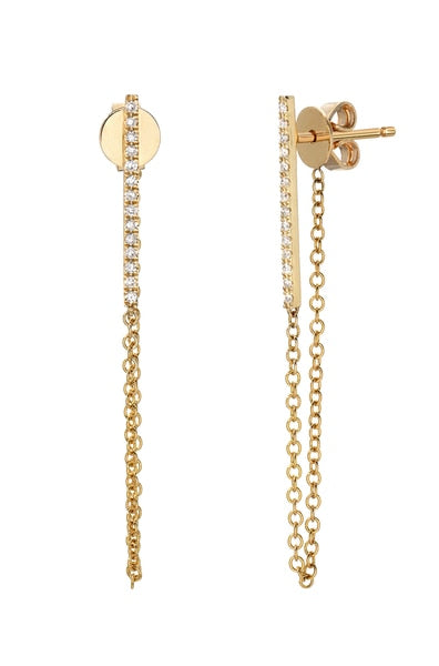 14k Gold and Diamond Pave Bar with Chain Stud Earrings