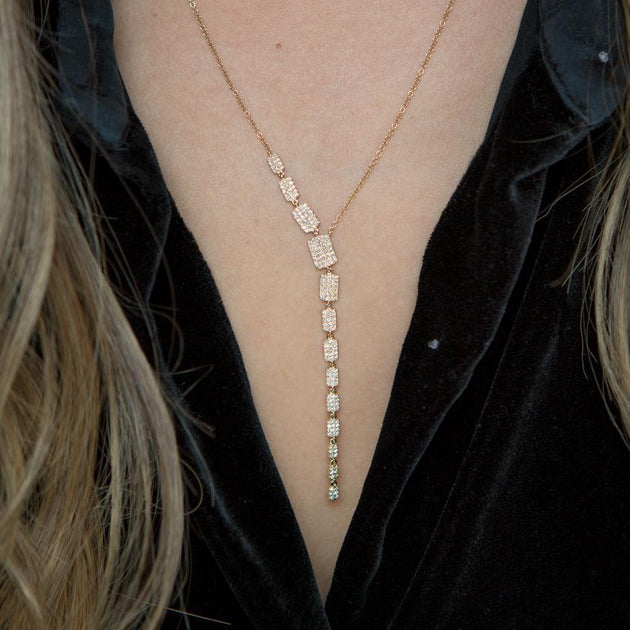 "14k Gold and Diamond Brick Drop ""Sienna"" Lariat Necklace"