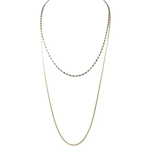 Enamel Drop Double Chain Necklace