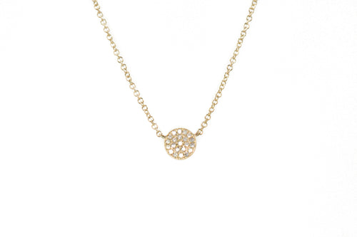 14k Gold Diamond Pavè Circle Necklace