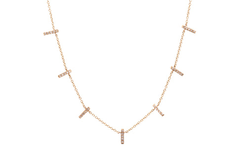 14k Gold Spaced Pavè Diamond 7 Bar Necklace