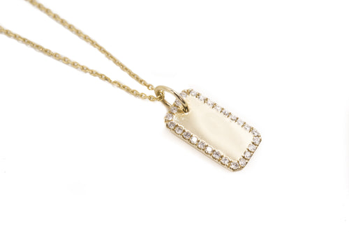14k Gold Tiny Dog Tag Pendant Necklace with Diamond Pavè Edge