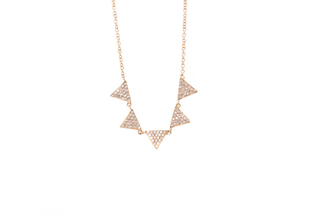 14k Rose Gold and Diamond 5 Triangle Station Necklace
