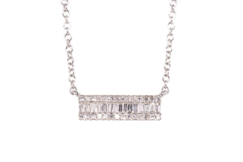 14k Gold and Diamond Small Bar Necklace