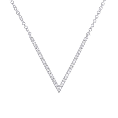 14k Gold and Diamond V Necklace
